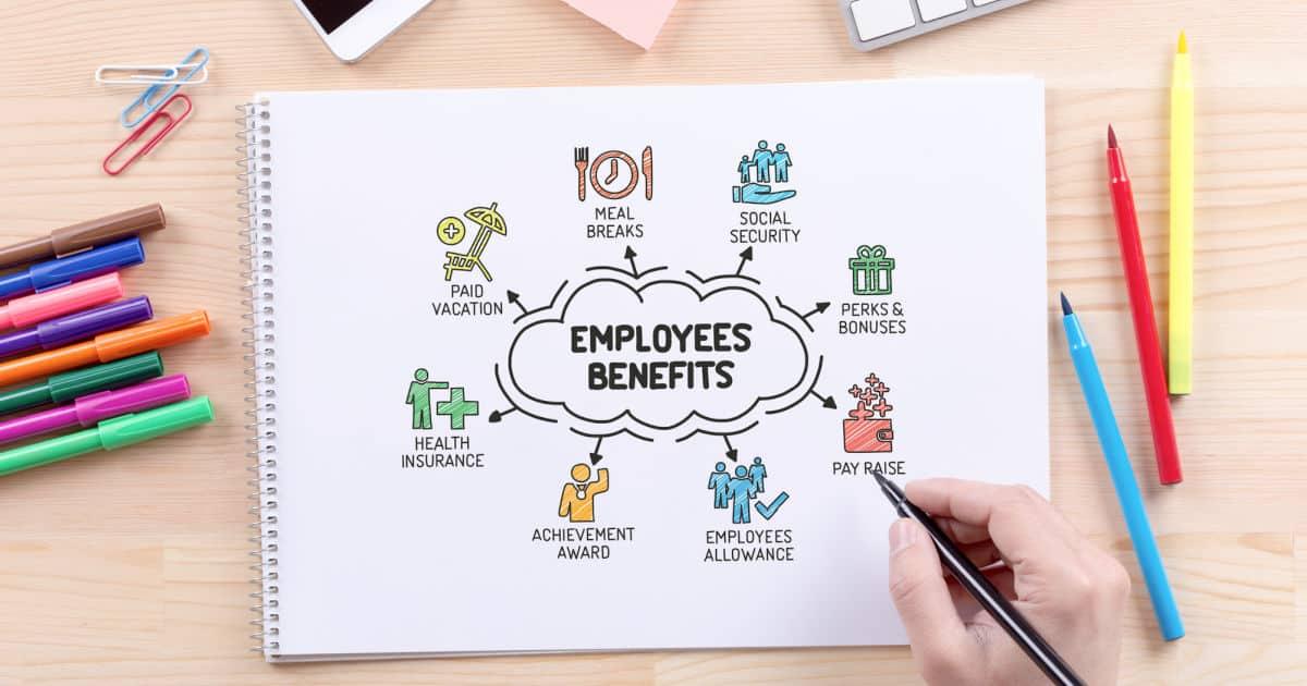 Employee Benefits sketch on notebook