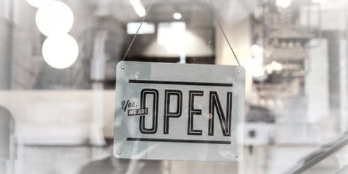 open sign on shop window