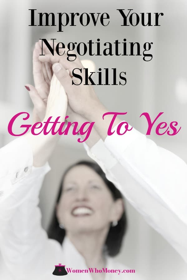 graphic of women high fiving each other with the words improve your negotiating skills, getting to yes