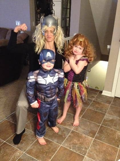 deanna with her niece and nephew dressed in halloween costumes