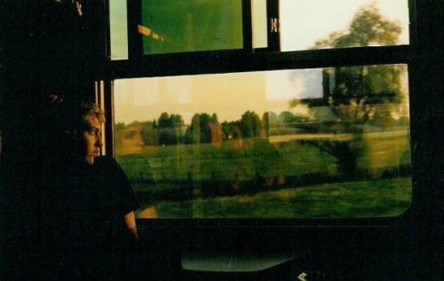 deanna on a train somewhere in Europe during her 20's