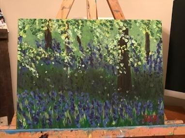 oil painting of a flower garden