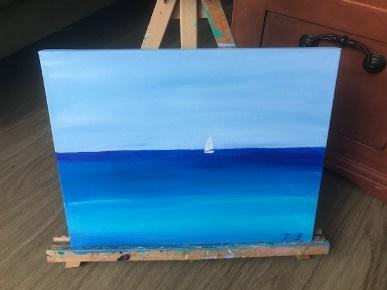 oil painting of a white sailboat against a blue sky and sea