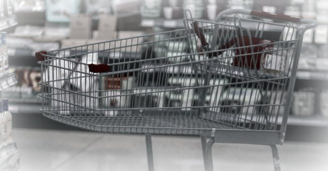 grocery cart in an aisle of a store