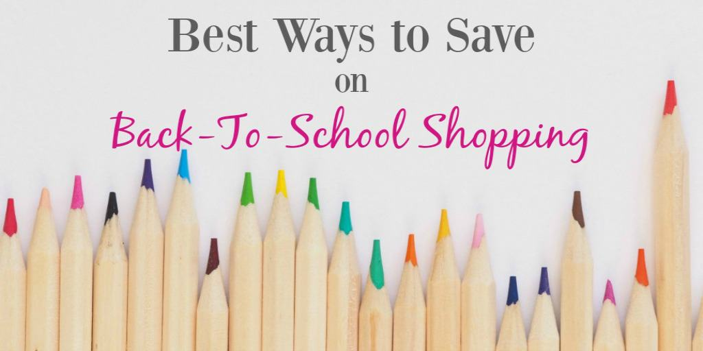 The words best ways to save on back to school shopping on a photo of colored pencils on a white background