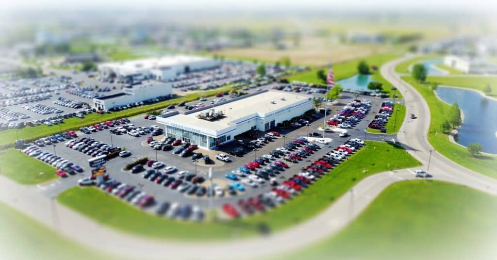overhead shot of a car dealership