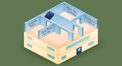 illustration depicting the third floor of a financial house