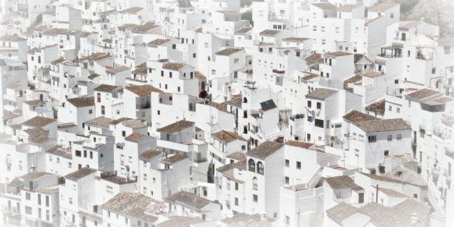 a sea of white houses