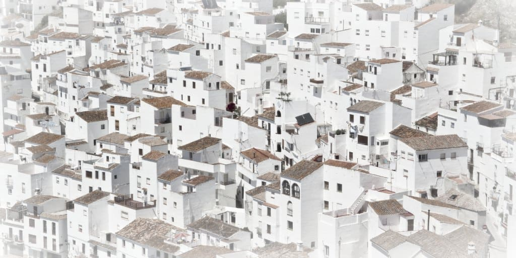 a sea of white houses