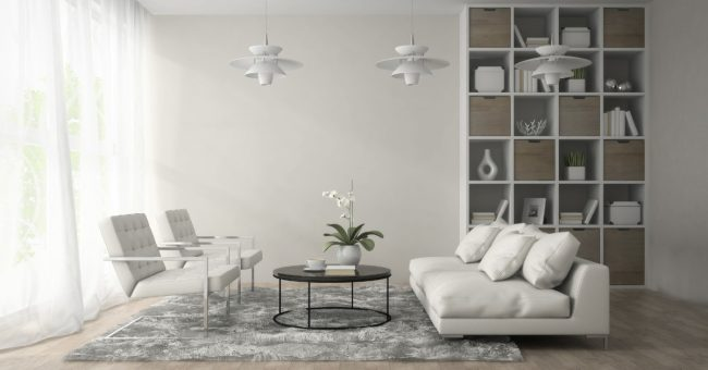 furnishings of an interior of modern room with three white lamps