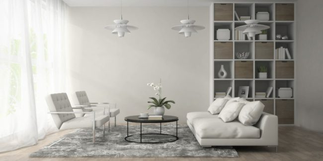Interior of modern room with three white lamps 3D rendering