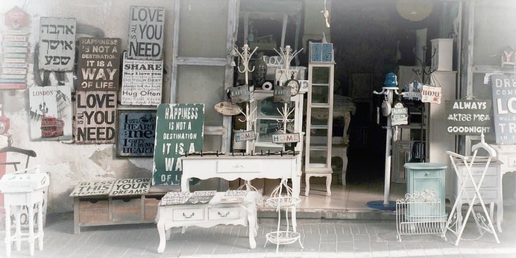 furnishings for a home on display at a store