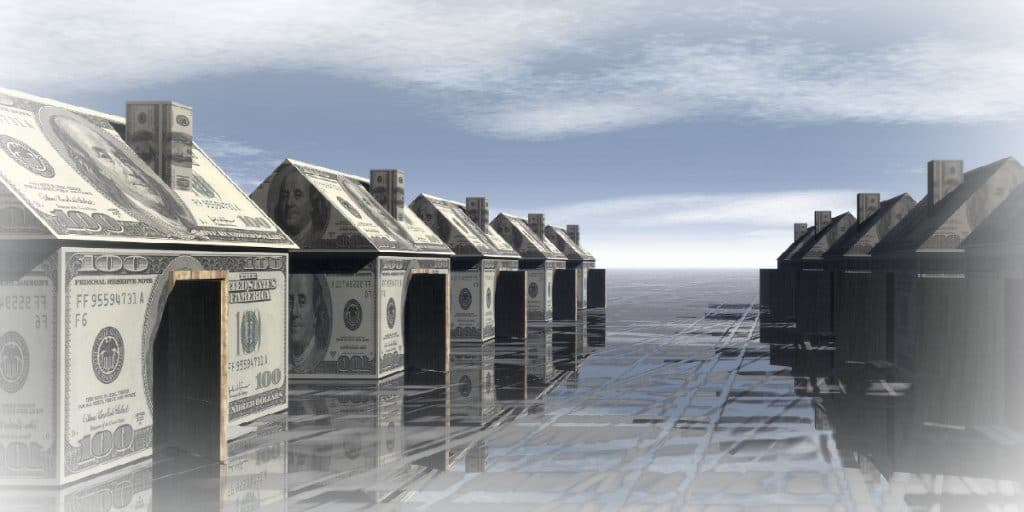 single-family rentals depicted with folded dollar bills