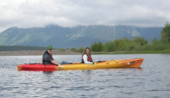 Amanda kayaking with her son