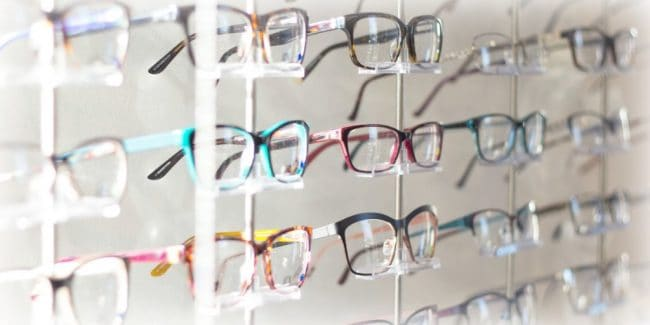 eye glass frames on a rack