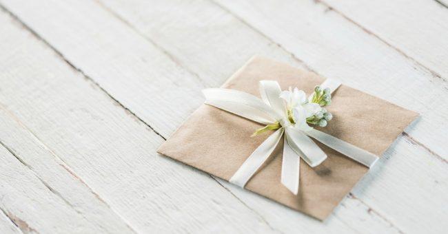 gift card or cash envelope on white background