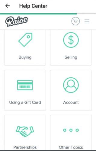 raise.com help center on the app