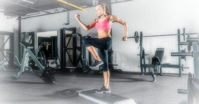 female working out in a gym