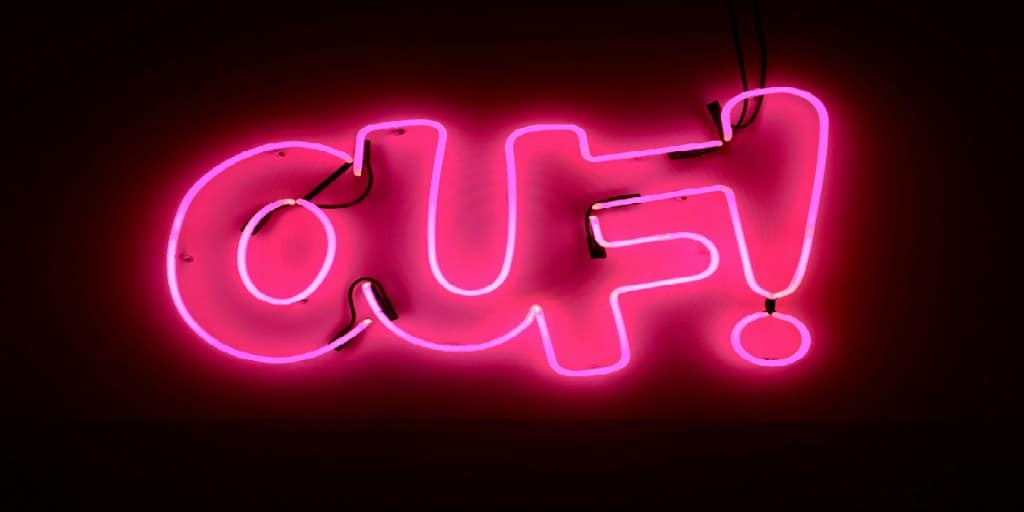 neon pink ouf sign