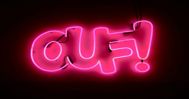 ouf neon pink sign