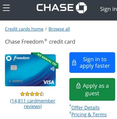 Chase Freedom Card Home Page
