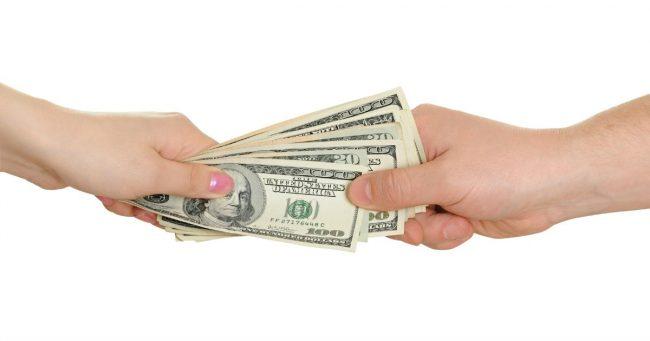 female lending money to male family member