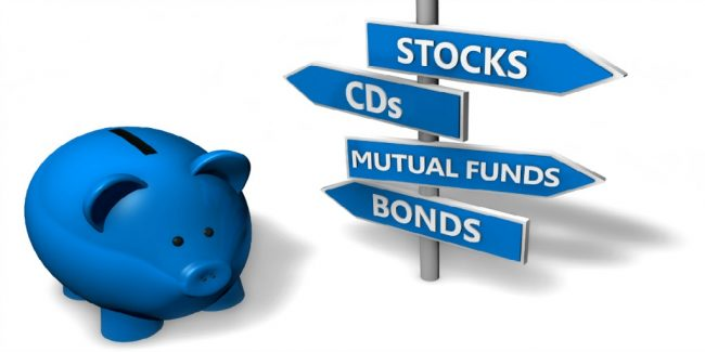 Piggybank with bonds investment options on directional sign