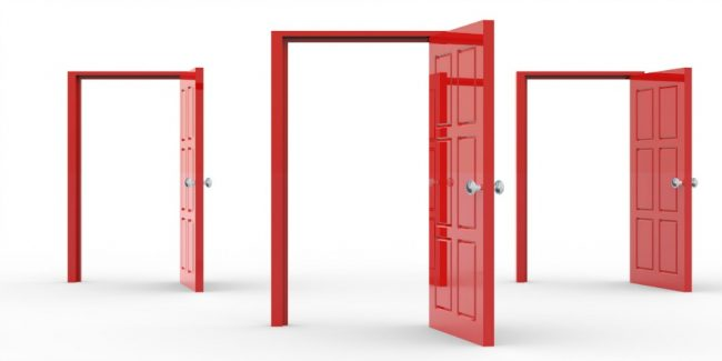 three red open backdoors and frames against white background
