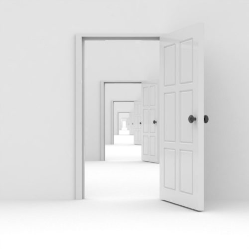a computer generated image of an endless hallway of white open doors