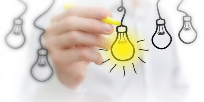 hand drawn light bulbs hanging from a string representing a list of business ideas