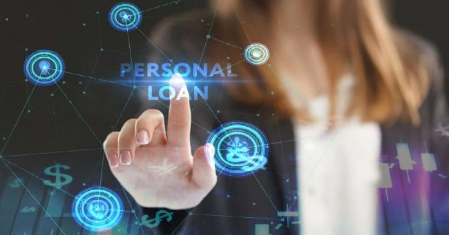 women selecting personal loan option using technology