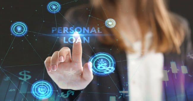 women selecting personal loan option using technology