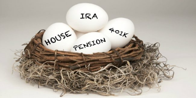 a nest full of eggs with retirement and financial words written on them IRA Pension 401k