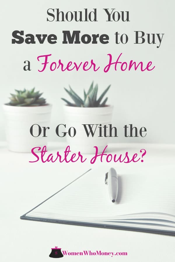 graphic, two houseplants, paper, pen, and words that read should you save more to buy a forever home or go with a starter house