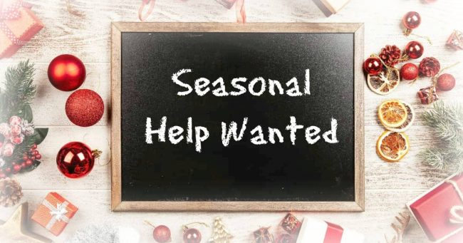 seasonal help wanted sign