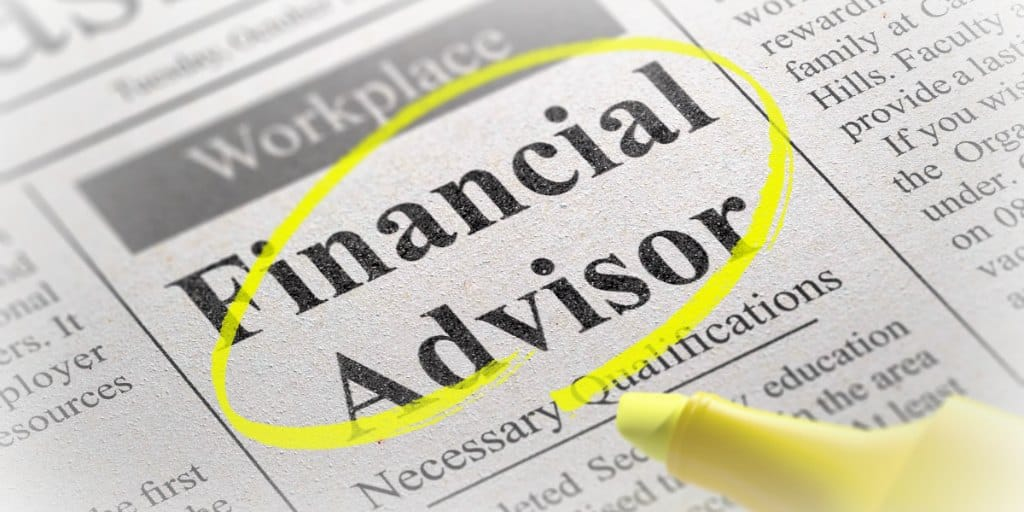 financial advisor ad highlighted in newspaper