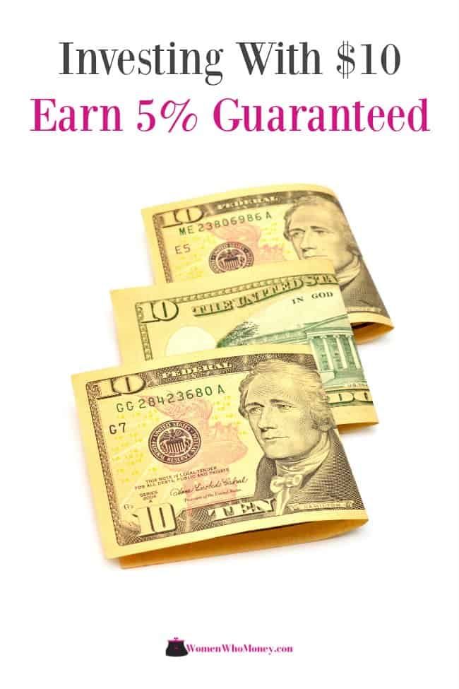 investing with ten dollars earns five percent guaranteed graphic