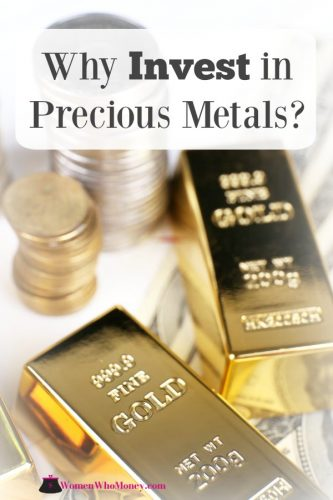 photo and graphic of gold bars and money that asks a question of why invest in precious metals
