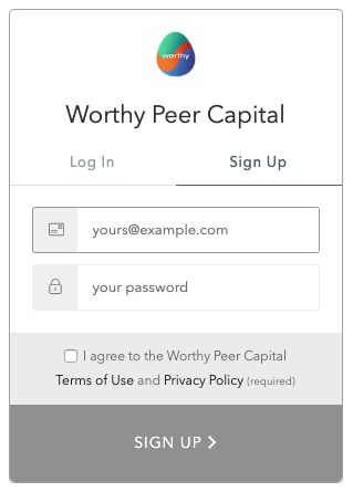 worthy peer capital sign up graphic