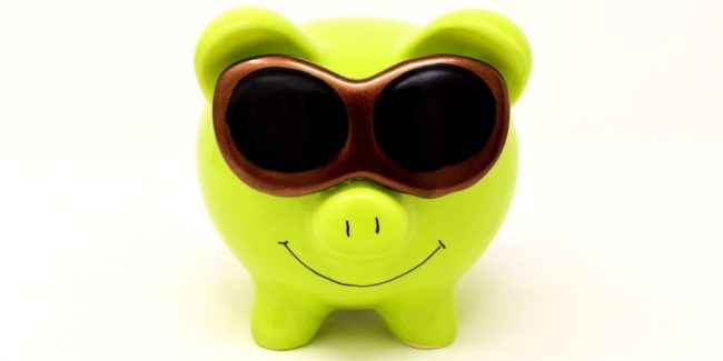 bright yellow green piggy bank