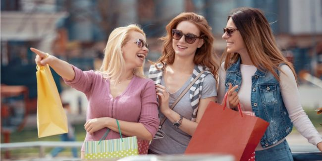 female friends and family out shopping