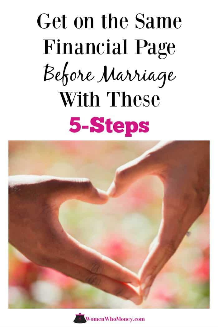get on the same financial page before marriage with these 5 steps graphic