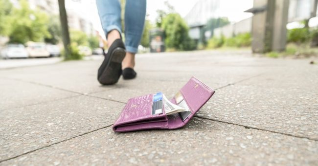 lost wallet on the sidewalk