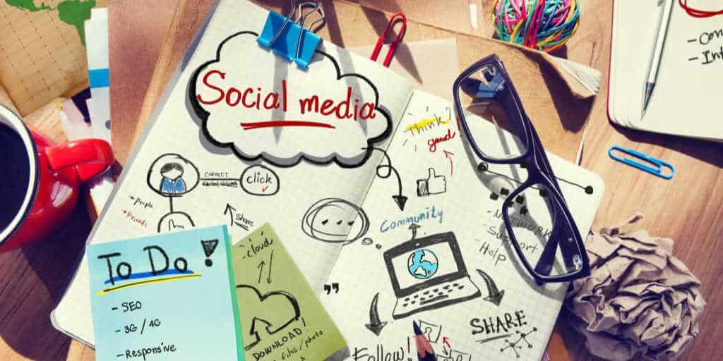 social media ideas written in a marketing notebook