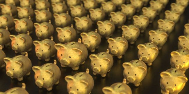 rows and rows of gold colored piggy banks