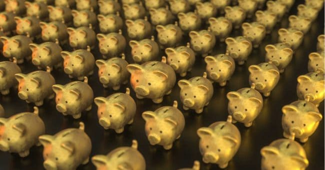 52 golden piggy banks to save money in