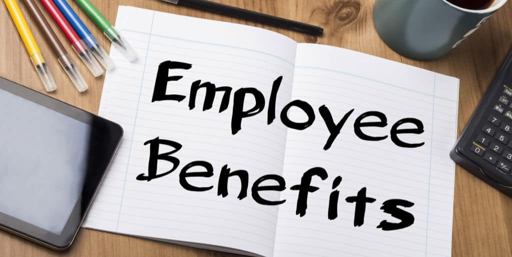 employee benefits written in a notebook