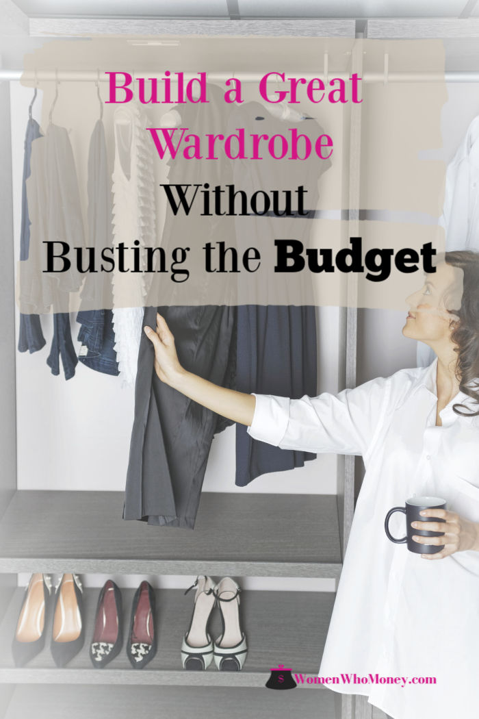 women looking at her work clothes in her closet