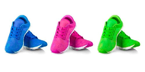 blue pink and green athletic shoes on display