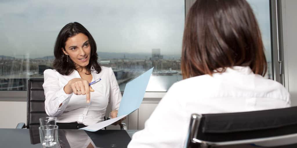 recruiter interviewing candidate during job search